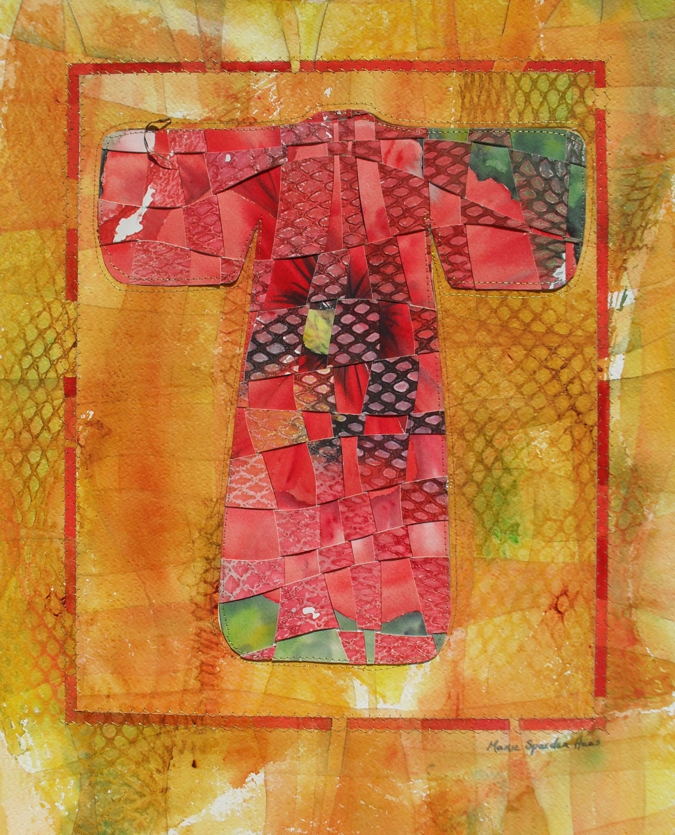 watercolor assemblage of a red kimono