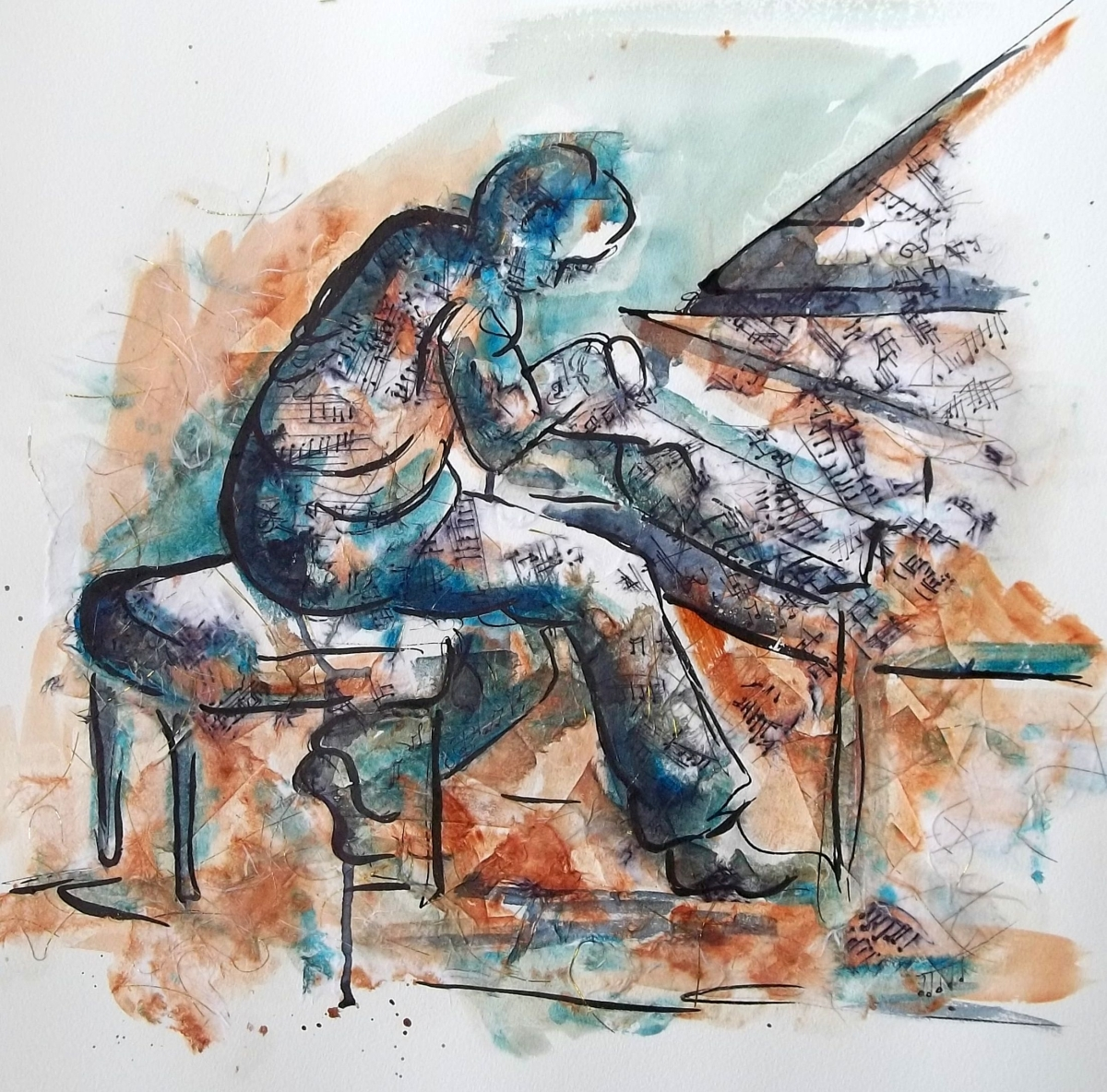 drawing of pianist