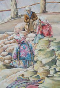 three Central American basket weavers