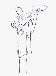 drawing of a concert violinist