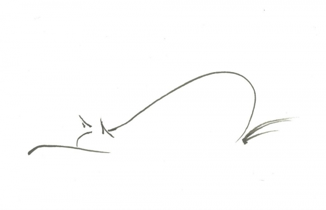 drawing of a cat prowling