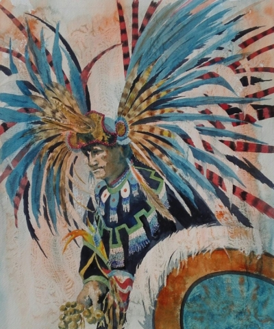 feathered headdress on a Native dancer