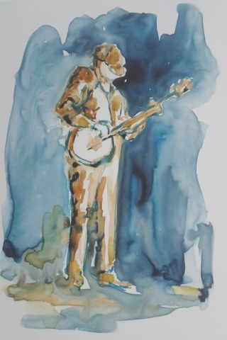 painting of banjo picker