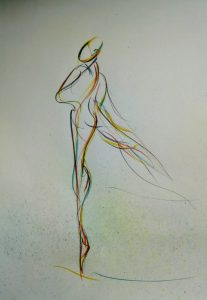 drawing of female dancer