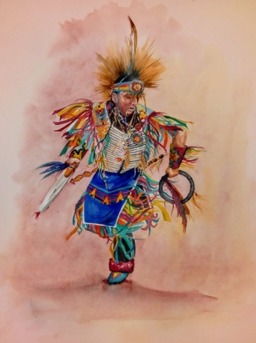 painting of native dncer