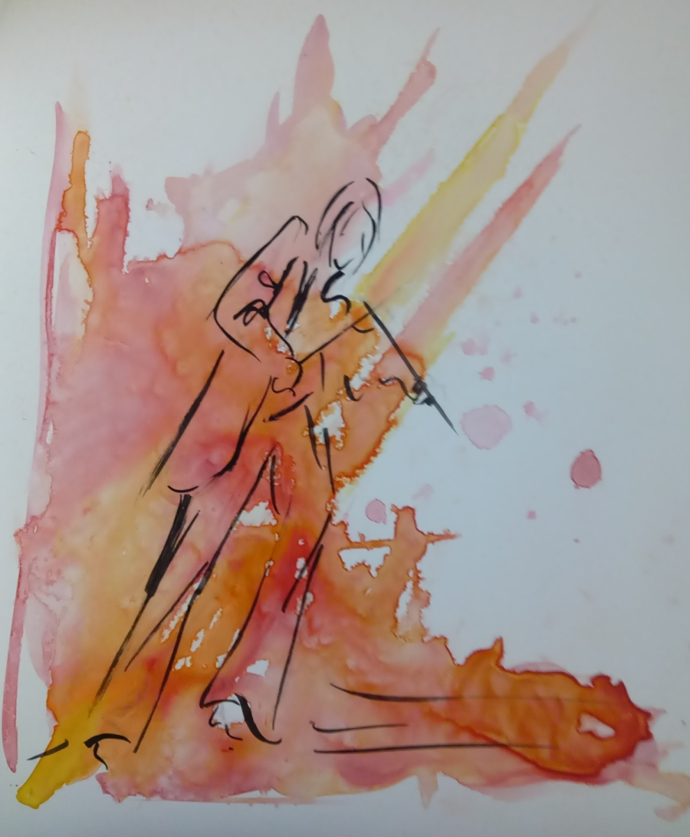 violinist in color and line