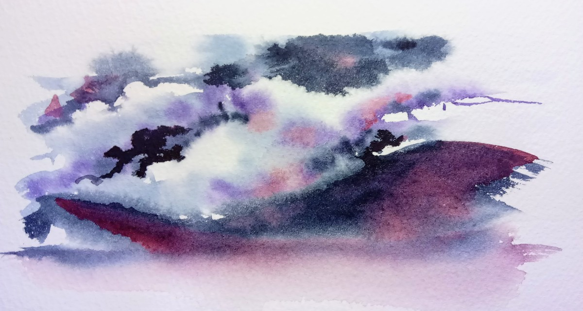 Painting of stormy clouds