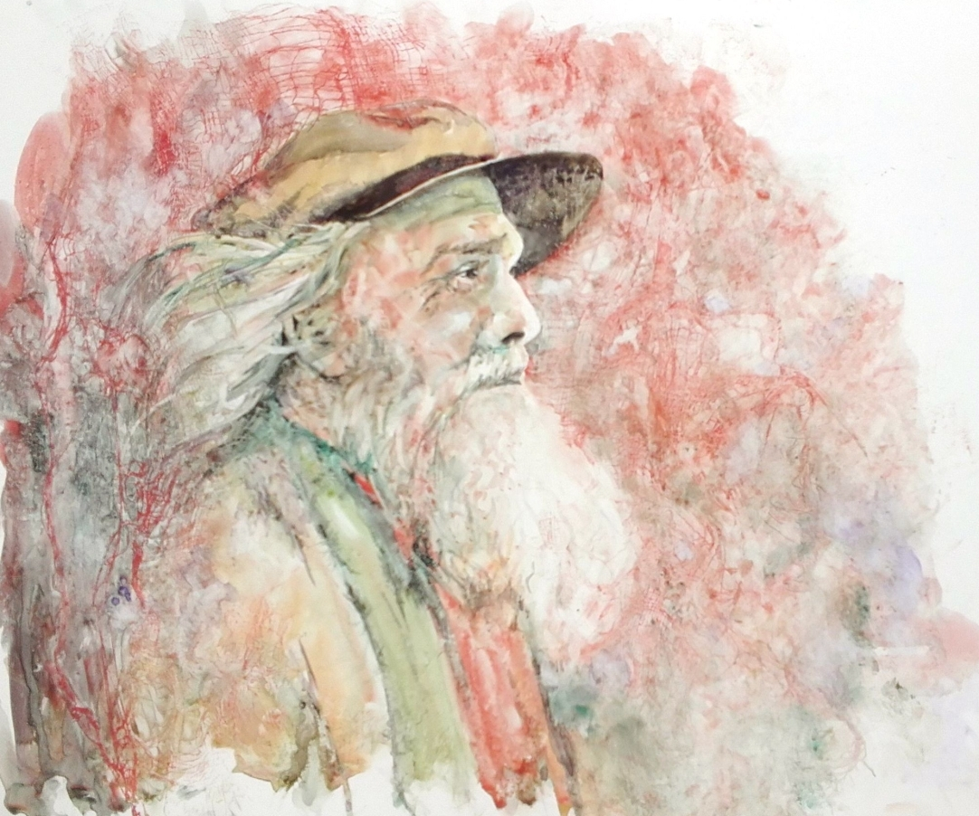 old man with hat in profile