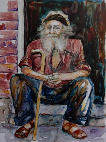 old man on stoop with cane