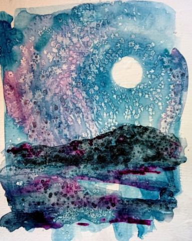 snowy moonlit sky